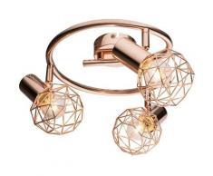 Globo - Plafonnier sommeil chambre d'amis cocarde couleurs cuivre lampe boule 54805-3 XARA