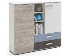 Commode pour enfant en bois avec 2 portes et 2 tiroirs - Dim : L 116,9 x H 105 x P 33 cm - PEGANE -