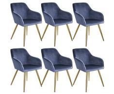 Tectake - Lot de 6 chaises velours MARILYN pieds dorés - chaise de salle à manger, chaise de