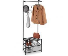 Portemanteau avec support chaussures, autonome, dans entrée,garde robe droit, métal, HxlxP 183 x