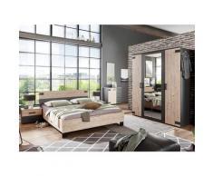 Chambre à coucher complète adulte (lit 140x200 cm + 2 chevets + armoire + commode) coloris chêne