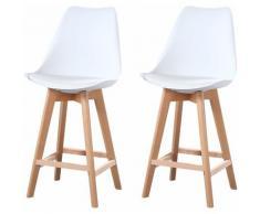 ALIX - Lot de 2 tabourets scandinave - Blanc - pieds en bois massif design salle a manger salon