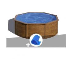 Kit piscine acier aspect bois Sicilia ronde 3,70 x 1,22 m + Bâche à bulles - GRÉ