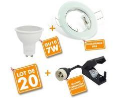 Lot de 20 Spot LED encastrable complet Blanc Fixe avec Ampoule GU10 7W | Blanc chaud 2700K