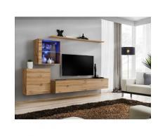 Price Factory - Ensemble meuble salon mural SWITCH XV design, coloris chêne Wotan. - Marron