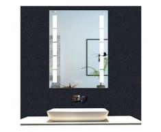 OCEAN Miroir de salle de bain 80x60cm anti-buée miroir mural avec éclairage LED modèle Bambou