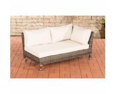 Canapé d'angle Moss rond/gris métallique Blanc beige