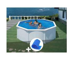 Kit piscine acier blanc Gré Fidji ronde 3,70 x 1,22 m + Bâche à bulles