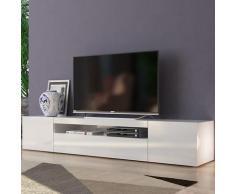 Meuble TV design avec portes tiroirs à rabat 200cm Daiquiri White L