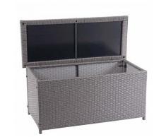 Coffre à coussins en polyrotin, HHG-570, coffre jardin ~ Basic gris, 63x135x52 cm, 320l