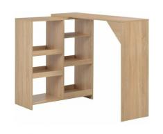 Table de bar avec tablette amovible Chêne 138 x 40 x 120 cm HDV22375 - Hommoo