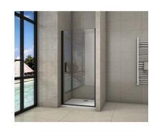 porte de douche 80x200cm porte de douche pivotante noir en 8mm verre anticalcaire