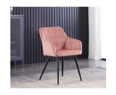 Chaise de Salle à Manger en Velours Capitonnée Rose - Style Contemporain - Pieds en Métal - Salon,