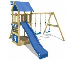 Aire de jeux Portique bois Smart Shelter avec balançoire et toboggan bleu Maison enfant exterieur