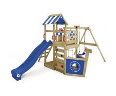 Aire de jeux Portique bois SeaFlyer avec balançoire et toboggan bleu Cabane enfant exterieur avec