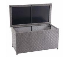 Coffre à coussins en polyrotin, HHG-570, coffre jardin ~ Basic gris, 51x115x59 cm, 250l