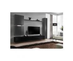 Ensemble de meuble pour salon mural SWITCH VIII. Meuble TV mural design, coloris noir et gris