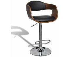 Tabouret de bar cuir synthétique hauteur réglable luxe bois et cuir - Bois