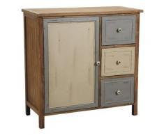 Pegane - Commode en pin de 3 tiroirs et 1 porte avec intérieur peint et poignées céramique