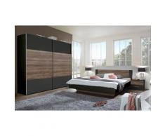 Pegane - Chambre à coucher complète adulte (lit 160x200 cm + 2 chevets + armoire), coloris chêne