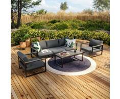 Salon de jardin aluminium et polywood 5 Places couleur gris - VINCENNES - Anthracite