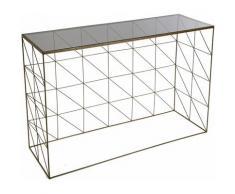 Versa Freiburg Meuble d'Entrée Étroit, Table console, 80,5x30x100cm - Cuivré et noir