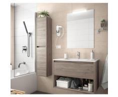 Caesaroo - Meuble de salle de bain suspendu 100 cm Chêne eternity avec un tiroir et un espace |