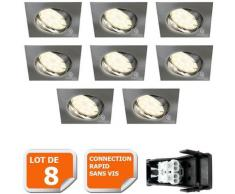 LOT DE 8 SPOT ENCASTRABLE ORIENTABLE LED CARRE ALU BROSSE GU10 230V eq. 50W BLANC CHAUD