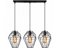 Suspension Lustre Industrielle Design Cage Diamant Luminaire Lampe plafonnier E27 Vintage en Métal