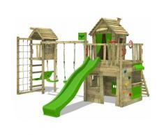 Aire de jeux Portique bois CrazyCat avec balançoire TowerSwing et toboggan vert pomme Maison enfant