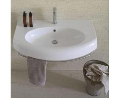 Ceramica Globo Bowl+ - Lavabo suspendu incurvé 80x50 cm, en céramique blanc brillant (code BP081.BI)