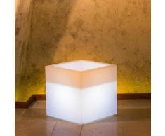 Idralite - Pot de fleurs lumineux cube Led carré en résine h 40 40x40 lampe blanche