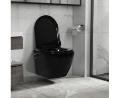 True Deal - Toilette murale sans bord à fonction de bidet Céramique Noir