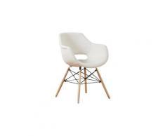 OLIVIA - Chaise en Tissu Beige - Design Scandinave - Salle à Manger, Salon, Cuisine - Pieds en Bois