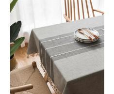 Nappe en coton et lin brodée de pompons, nappe rectangulaire, serviette de couverture de table