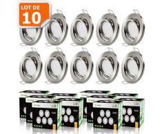 LOT DE 10 SPOT LED ENCASTRABLE ORIENTABLE ALU BROSSE AVEC AMPOULE GU10 230V eq. 50W, BLANC CHAUD