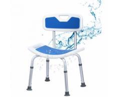 COSTWAY Chaise de Douche avec Dossier Rembourré 51x31,5x71-83CM Charge 150KG Réglable en Hauteur