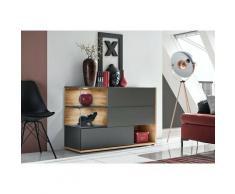 Price Factory - Buffet, bahut, enfilade KLIS trois portes et trois niches. Coloris gris anthracite