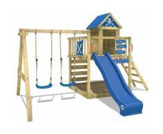 WICKEY Aire de jeux Portique bois Smart Cave avec balançoire et toboggan bleu Cabane enfant
