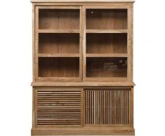 Made In Meubles - Buffet vaisselier en acacia portes ajourées et coulissantes - Acacia foncé