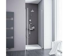 Porte de douche pivotante, verre 5 mm transparent anticalcaire, profilé alu-argenté, Schulte, 80 x