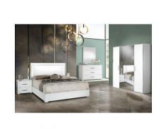 Altobuy - IZIA BLANCHE - Chambre 160x200cm + Armoire 4 Portes