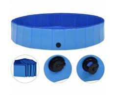 Hommoo Piscine pliable pour chiens Bleu 160x30 cm PVC