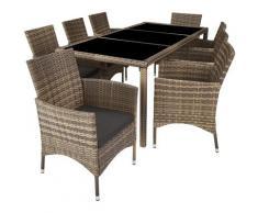 Tectake - Salon de jardin VALENCE 8 places avec housse de protection - mobilier de jardin, meuble