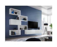 Ensemble meuble TV mural CUBE 8 design coloris blanc et blanc brillant. Meuble de salon suspendu
