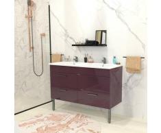 Ensemble meuble sous-vasque + vasque résine MILANO / Aubergine/