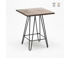 Table haute industrielle pour tabourets 60x60 métal acier bois Bolt | Couleur: Marron