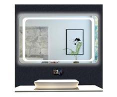 OCEAN Miroir de salle de bain 100x70cm anti-buée miroir mural avec éclairage LED modèle Classique