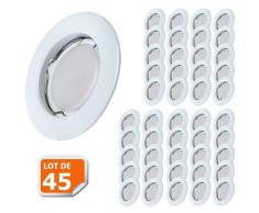 Lot de 45 Spot Led Encastrable Complete Blanc Lumière Blanc Neutre 5W eq.50W ref.770