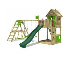 Aire de jeux Portique bois HappyHome avec balançoire SurfSwing et toboggan vert Maison enfant